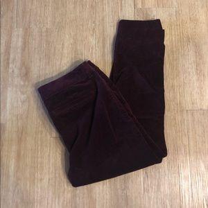 Burgundy velvet Ankle Stretch pants